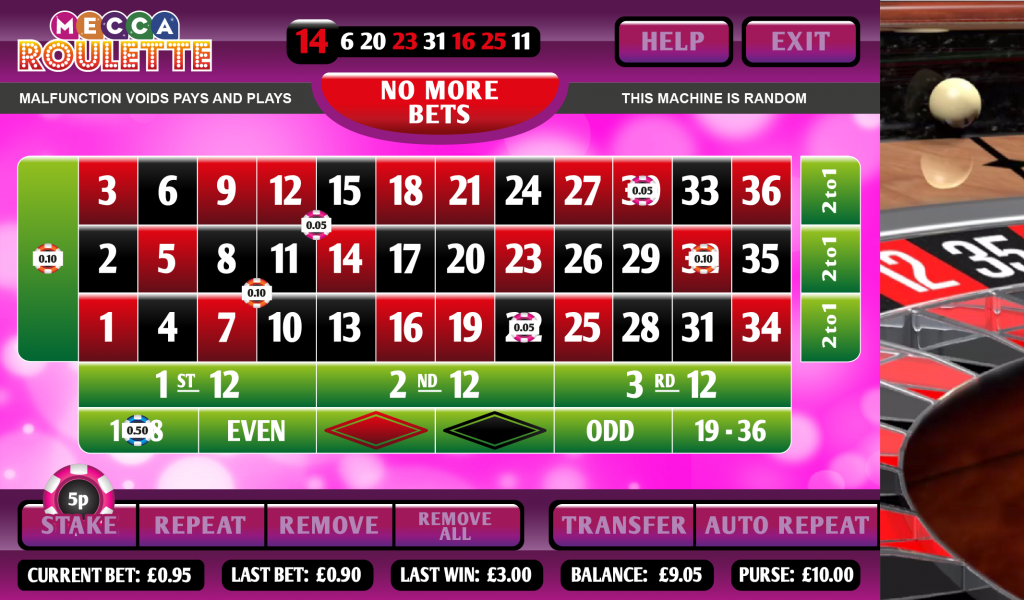 Mecca bingo roulette patin a roulette online